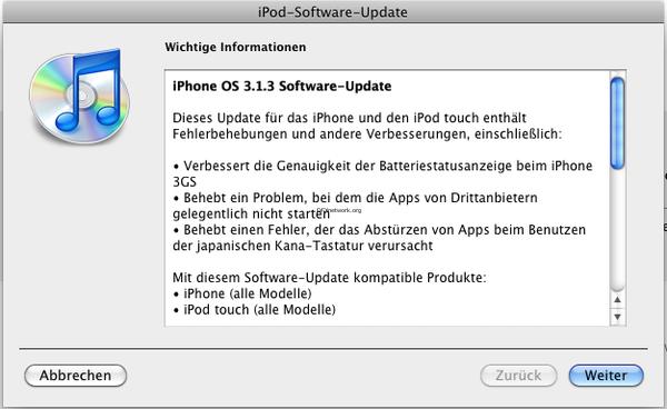 iPhone Update auf Version 3.1.3 erschienen