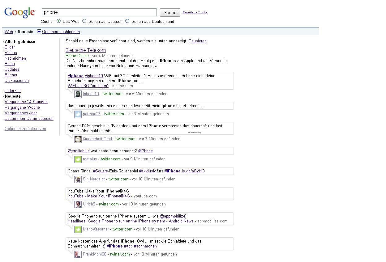 Google Live Search nun auch in Deutschland Aktiv