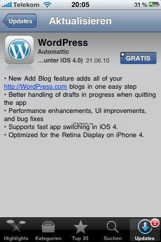 WordPress App geupdatet
