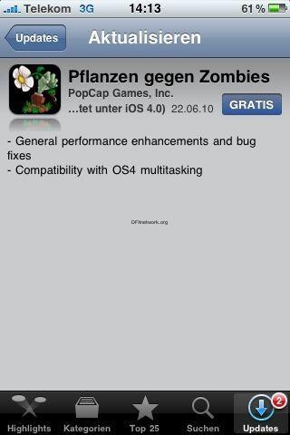 Plants vs. Zombies – iOS 4 Update und name eingedeutscht