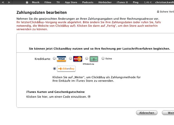 iTunes aktuell Probleme mit Geschenkkarten und Click&Buy