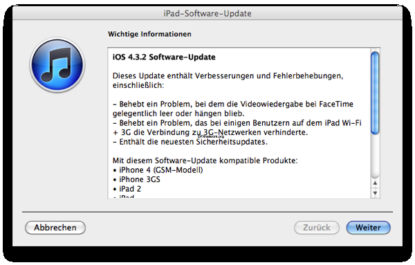 Apple hat iOS 4.3.2 veröffentlicht