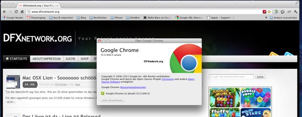 Die Lion Fullscreen Apps kommen – Google Chrome im Fullscreen