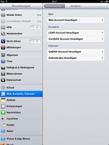 iOS mit Google Adressen Syncen über CardDAV